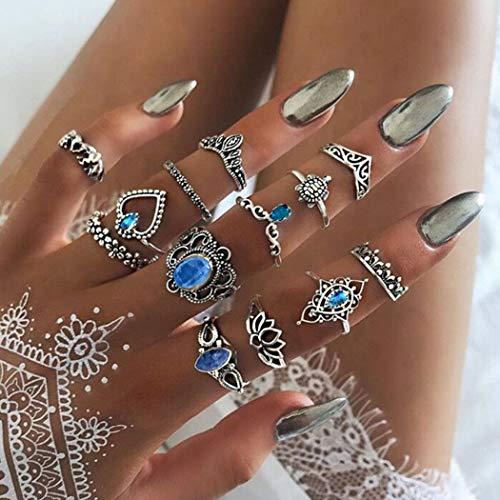 Mayelia - Set di anelli in argento con cristalli, per donne e ragazze, 13 pezzi