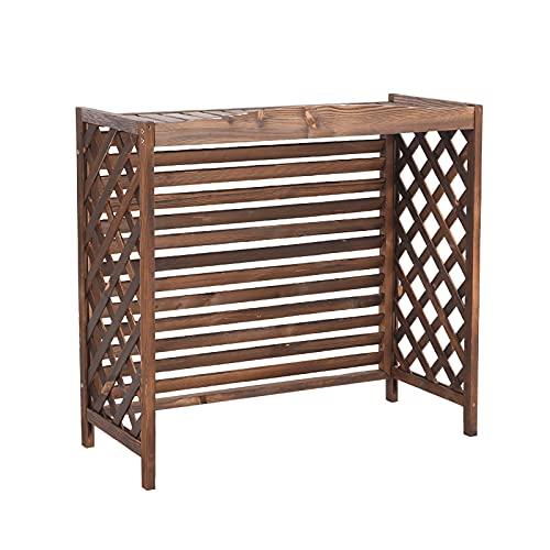 Cornice del condizionatore d'Aria Coperchio del condizionatore d'aria in legno massello, stand flower all'aperto con aria condizionata, mensola per balcone, con design di griglia tende, facile da cura