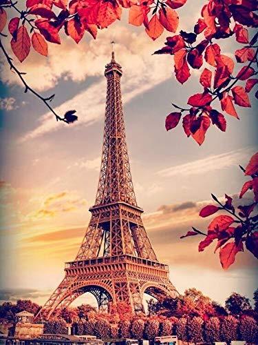 Mosaico de diamantes paisaje cuadrado completo Diy pintura de diamantes Torre Eiffel decoración de bordado de diamantes de imitación A17 40x50cm