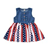 LYSMuch Toddler Baby Girl Independent Day Clothes Sleeveless American Flag Skirt Denim Sundress Tunic Tops (Red White and Blue Dress, 5-6T, 5_Years)