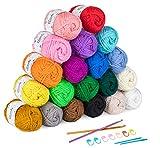 ilauke 20 x 30g Balls of Assorted Double Knitting Yarn, Colored Acrylic Yarn Set with 2 Crochet Hooks, 2 Needles, 8 Crochet Locking Stitch Markers