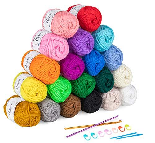 ilauke 20 x 30g Balls of Assorted Double Knitting Yarn, Colored Acrylic Yarn Set with 2 Crochet...
