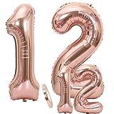 Globos Número 12 Cumpleaños Oro Rosa, Helio Globo de Papel Aluminio Gigante Número 12 en 2 Tamaños 40 'y 16' con Cinta   Set XXL 100cm + Mini 40cm   Cuatro Numeros   Ideal Decoración de Fiesta