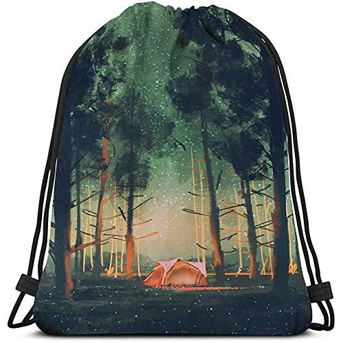 BOUIA Trekkoord Tas Sport Opbergtas Camping Bos Nachtsterren Vuurvliegjes Digitale Schilderij Gekleurd