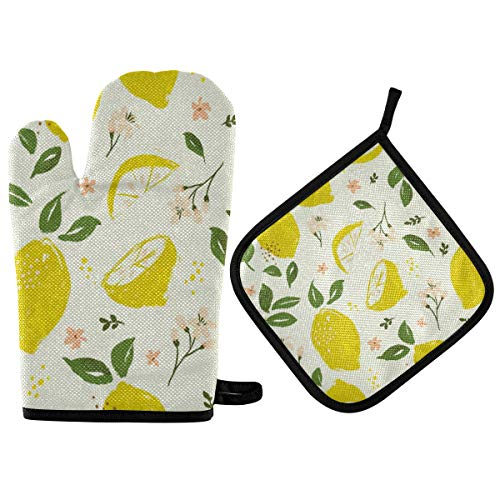 RURUTONG Oven Mitt and Pot Holder Lemon with Cotton Soft Lining for Cooking BBQ Grilling 10.6 x 6.7in Tropical Fruit 2010247
