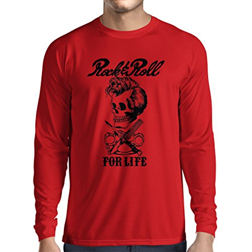 lepni.me Camiseta de Manga Larga para Hombre Rock and Roll For Life - 1960s, 1970s, 1980s - Banda de Rock Vintage - Musicalmente - Vestimenta de Concierto (Medium Rojo Multicolor)