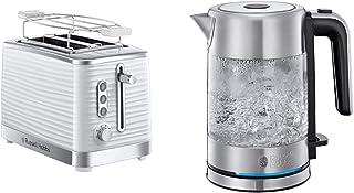 Russell Hobbs Toaster Grille Pain XL, Contrôle Brunissage, Décongéle, Réchauffe, Chauffe Viennoiserie - Blanc & Bouilloire...