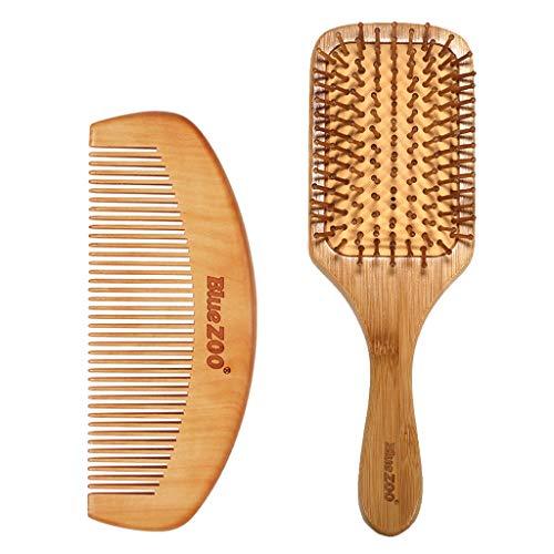 A0127 2pcs Peigne Bois Brosse À Cheveux Professionnelle Antistatique Massez Le Cuir Chevelu Peigne en Bambou