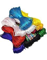 Ewparts 12 Paquetes 1.5mm Satin/Rattail Cuerda de Seda para Collar Pulsera cordón de Reborde para joyería Haciendo Accesorios, 20 Metros Cada uno (1.5mm)