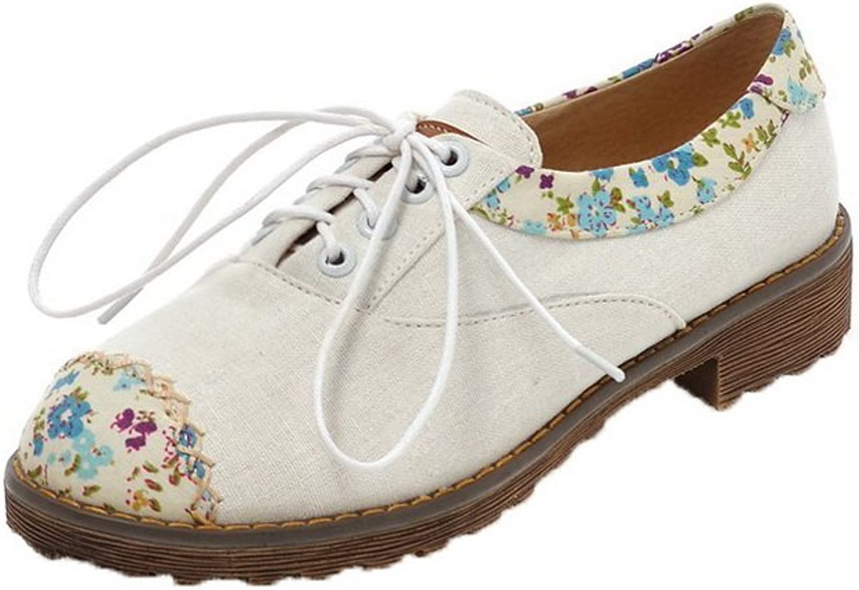 AllhqFashion Women's Lace-up Fabric Round-Toe Low-Heels Floral Pumps-shoes