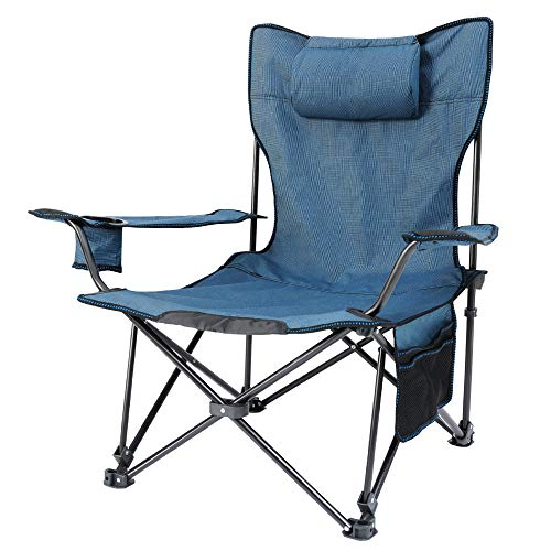 Camping Chair, Folding Padded Hard Arm Chair High Back Lawn Chair Ergonomic Heavy Duty with Cup Holder and Carry Bag, for Camp, Fishing, Hiking, Outdoor, Carry Bag Included,Supports 400lbs
