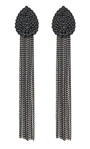 Clip su orecchini - lampadario di cristallo nero orecchino con catene lunghe nere - Brook di Bello London