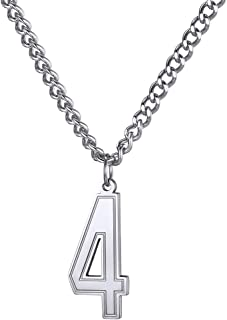 Number Necklace, Unisex 18K Gold Plated/Stainless Steel/Black Rhodium Plated Lucky Baseball Jersey Number 0-9 Charms Pendant with Curb Chain 22+2