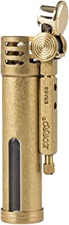 Classic Design Antique Style Brass Metal Oil Petrol Cigarette Lighter with Fuel Window (Brass)