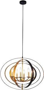 Lanros Industrial Sphere Foyer Lighting, 8-Light Vintage Adjustable Globe Chandelier with Pivoting Interlocking Rings for Dining Room, Entry, Living Room, Stairwell, Restaurant, Black/Gold+