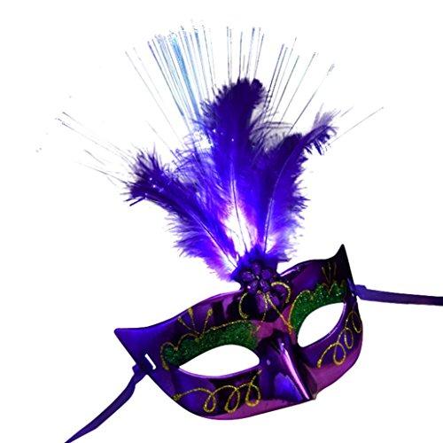 Masque femme, Koly Masque Loup Venitien en en fibre Plume de LED Deguisement pour la Soiree Masque de Bal Mascarade Halloween Partie Vampire (Violet)