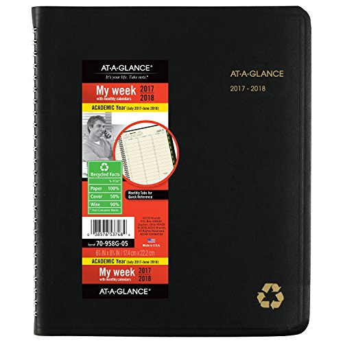 "AT-A-GLANCE Academic Weekly / Monthly Appointment Book / Planner, Recycled, July 2017 - June 2018, 6-7/8"" x 8-3/4"", Black (70958G05)"