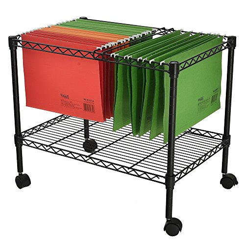 MOONBUY Single Tier Mobile Metal Rolling File Cart, Portable File Cart for Letter and Legal Size Folder Home Office Bottom Mesh Platform 23.6' x 12.6' x 18'