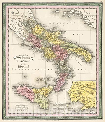 Historic Map - Mitchell Map of Southern Italy (Naples, Sicily) -, 1853 - Historical Antique Vintage Decor Poster Wall Art - 24in x 28in