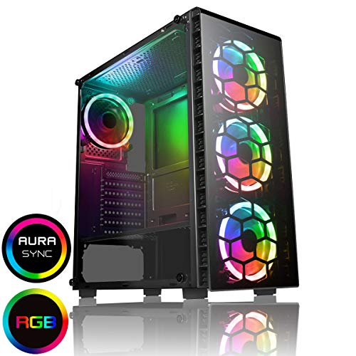 CiT Raider PC Gaming Case, Mid-Tower ATX, Halo Dual - Ring Spectrum Fans, RGB, PCB Hub w/ Aura Connectivity, RF Controller, MB Sync, Tempered Glass, For a Great Gaming Experience | Black
