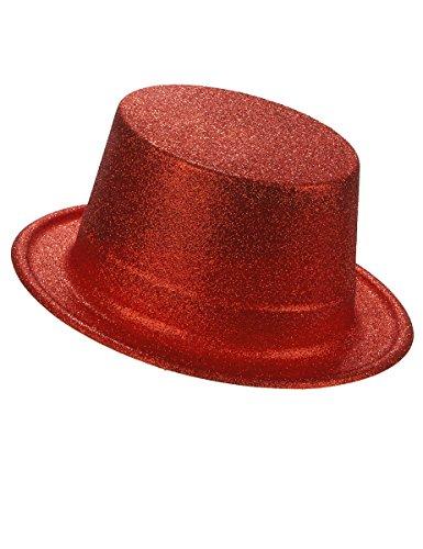 DEGUISE TOI - Chapeau Haut de Forme Plastique pailleté Rouge Adulte - Taille Unique