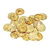 Relaxdays Cofre del tesoro para piratas, 288, Monedas de juguete, Accesorio de disfraz, PP, Dorado, color, (10022524)