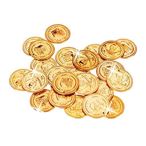 Relaxdays Monete d'Oro per Pirati, Tesoro dei Corsari con 288 Gettoni, Denaro in Plastica per il Carnevale, PP, Bambini, pz, 10022524