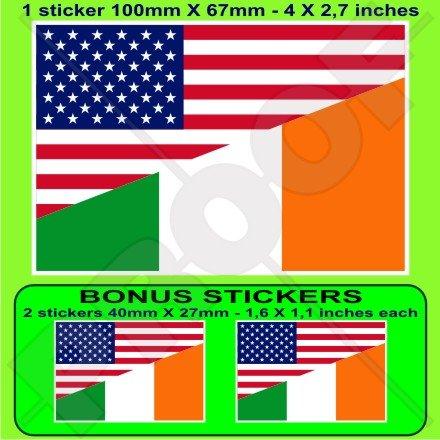 USA United States of America et drapeau de l'Irlande, American et irlandais 10,2 cm (100 mm) pare-chocs Autocollant, EN Vinyle X1 + 2 Bonus