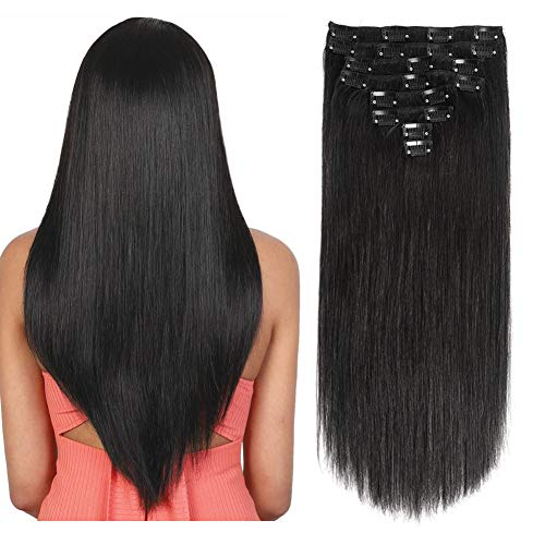 120Gram Remy Hair Extensions Clip in Human Hair Extensions 24Inch 8Pcs Double Weft Real Clip in Hair Extensions Natural Black Straight Thick Hair Extensions Grade 8A 20Clips ins Hair for Women