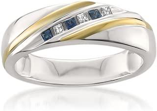La4ve Diamonds 14k Two-Tone White & Yellow Gold Princess-Cut Diamond & Sapphire Men's Wedding Band (1/5 ctw, I-J, I1-I2)