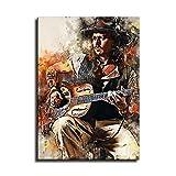 Johnny Depp Gitarristen-Aquarell-Poster, Kunstdruck,