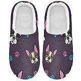 Linomo Lindas zapatillas de perro Bulldog con estampado de huellas para mujer, para casa, para interiores, zapatos de casa, zapatos de dormitorio, multicolor, 37/38 EU
