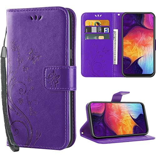 iDoer für Samsung Galaxy A50 hülle,Solide Butterfly PU Ledercase Tasche Schutzhülle Galaxy A50 flipcase Magnetverschluss Handyhülle im Wallet - Lila