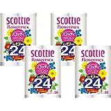 【ケース販売】 スコッティ フラワーパック 2倍巻き(12ロールで24ロール分) トイレット 50mダブル ×4パック入り
