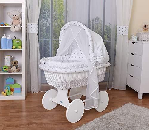 WALDIN Baby Stubenwagen-Set mit Ausstattung,XXL,Bollerwagen,komplett,44 Modelle wählbar,Gestell/Räder weiß lackiert,Stoffe weiß/Sterne-grau