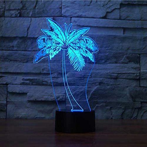 USB LED luz de noche árbol de coco 3D lámpara de mesa moda dormitorio decoración lámpara de noche regalo