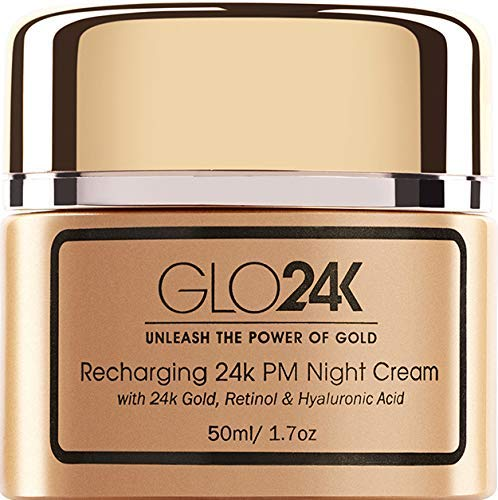GLO24K Night Cream with 24k Gold, Retinol, Vitamins, and Hyaluronic Acid. Optimally Hydrate your Skin while you sleep.
