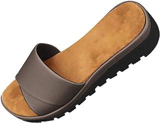 JJLIKER Womens Comfort Sandals for Women | Slip-on | Open Toe | Low Platform Wedge | Slides | Summer Sandal