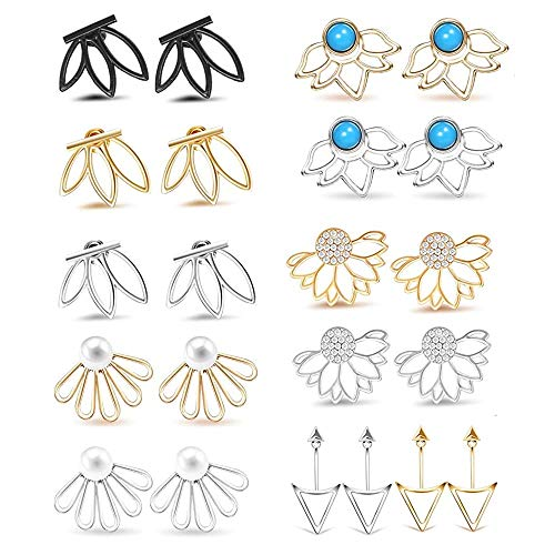 11 Pairs Ear Jacket Stud Lotus Flower Earrings for Women and Girls Set for Sansitive Ears Simple Chic Jewelry