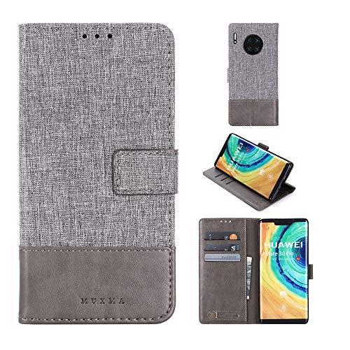 Happy-L Caso Huawei Mate 30 Pro, Caja de Cartera de Plato magnético de Lona de Cuero PU con Ranuras y Soporte para Tarjeta (Color : Gray)