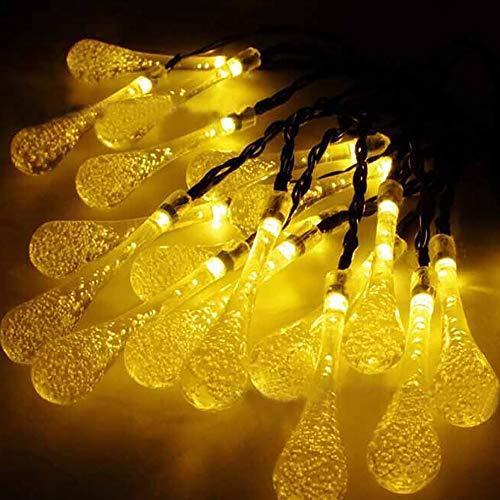 lchde 30 LED Solarlichterkette Tropfen Lichterkette Wasserdicht Außenlichterkette Weihnachtsbeleuchtung Beleuchtung für Hochzeit, Party, Garten 6M(2pack)