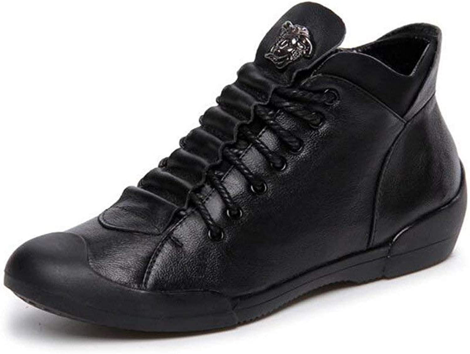 Boolee Women's High Top Genuine Leather Wedges Lace-up Flat Sneakers