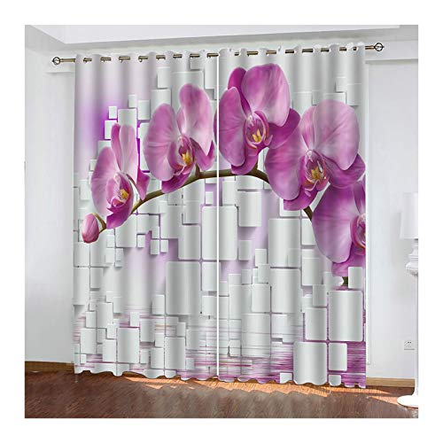 Knbob Polyester Vorhänge Rosa Orchidee Vorhänge für Schlafzimmer Größe 274x244CM
