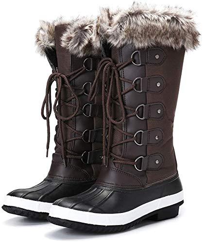 Camfosy Botas de Nieve Mujeres de Invierno,Botas de Lluvia Zapatos de Piel Impermeables Después del esquí Lleno de Calor para niñas Senderismo Caminar