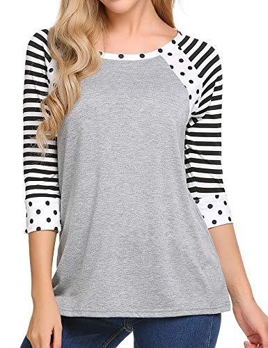 Zeagoo Women Casual 3 4 Sleeve Shirt Colorblock Blouse Crew Neck Tops Striped Baseball Tees (Gray, XL)