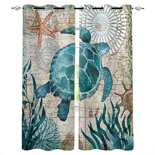 Edwiinsa Hawaiian Kitchen Blackout Curtains Window Drapes Treatment, 2 Panels Set for Kitchen Cafe Office, Watercolor Ocean Animals Sea Turtle Wildlife Theme 55W x 39L inch