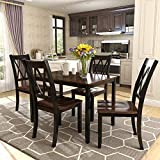 Merax Dining Table Set Kitchen Dining Table Set for 4, Wood Table and Chairs Set (Cherry + Black)