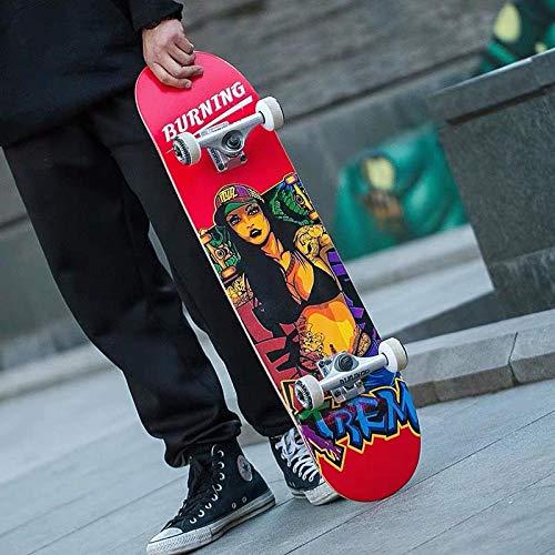 YSCYLY Tabla De Skateboard,Tablero Profesional Scooter de Cuatro Ruedas con Doble deformación,para NiñOs Adultos, Principiantes, NiñAs, NiñOs