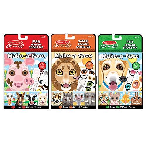 Melissa & Doug Make-a-Face Reusable Sticker Pad Animals 3-Pack (Safari  Farm  Pets)