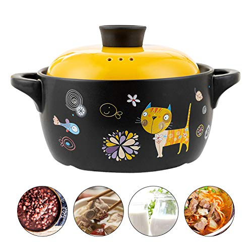 Ceramic Stockpot, Cartoon Pattern Ceramic Black Dish Round Stewpot, Stovetop Ceramic Stew Pot, Hot Pot Clay Pots, Soup Pot, Stew Pan, Casserole Cooking Pot with Yellow Lid (2.6-Quart)